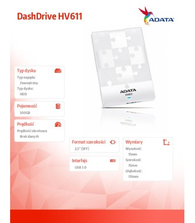 Adata DashDrive HV611 500GB 2.5'' USB3.0 White