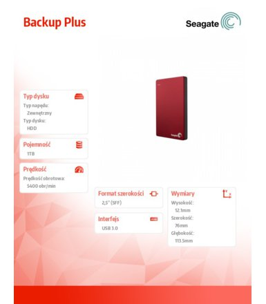 Seagate STDR1000201 1TB 2,5''USB3.0 Backup Red