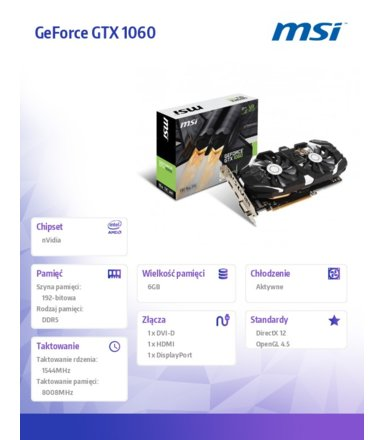 MSI GeForce CUDA GTX1060 OCV1 6GB DDR5 192BIT DVI/HDMI/DP