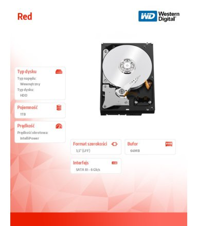 Western Digital WD Red WD10EFRX 1TB 64MB  SATAIII IntelliPower