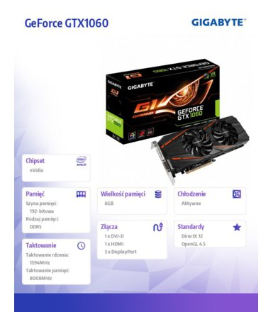 Gigabyte GeForce GTX 1060 G1 GAMING 6G GDDR5 192BIT DV/HDMI/3DP