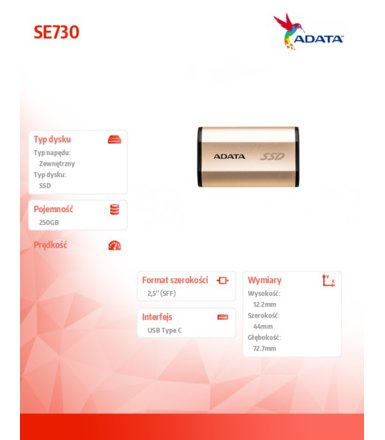 Adata SSD External SE730 250GB 2.5'' USB3.1-C Gold
