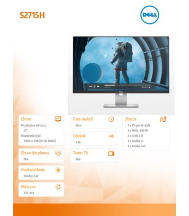 "Dell 27"" S2715H LED IPS Glossy 1920x1080 16:9 VGA/HDMI/MHL/2xUSB 2.0/speakers/3Y MR"