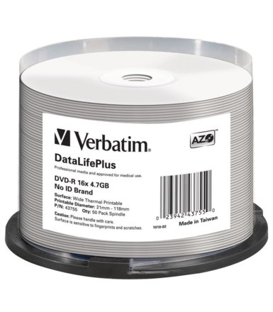 Verbatim DVD-R 16x 4.7GB 50P CB Wide Thermal Printable