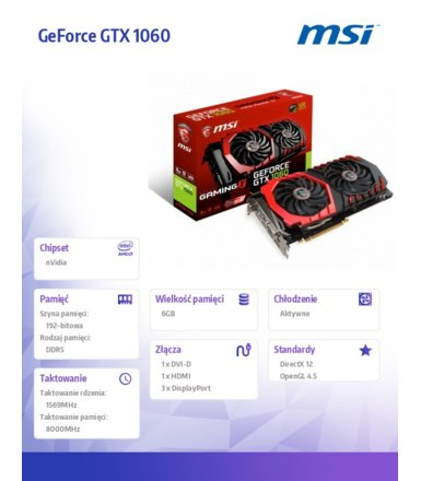 MSI GeForce GTX 1060 X 6GB GDDR5 192BIT DVI/HDMI/DP/HDCP