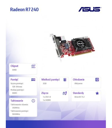 Asus Radeon R7 240 2GB DDR3 128BIT PCI-E DVI/HDMI BOX