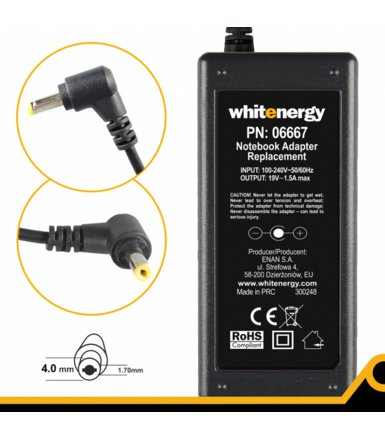Whitenergy Zasilacz 19V | 1.58A 30W wtyk 4.0*1.7mm         06667