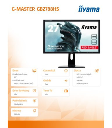 IIYAMA 27'' GB2788HS-B1 Red Eagle 144Hz/1ms/Disp.Port/FreeSync
