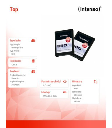 Intenso SSD Top 128GB 2,5'' Sata III 540/470MB/s 9mm