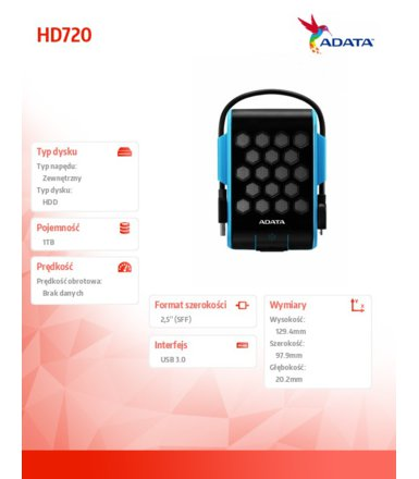 Adata DashDrive Durable HD720 1TB 2.5'' USB3.0 Blue