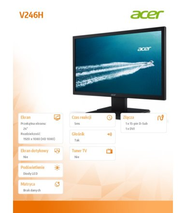Acer 24''     LED V246H 5ms,100M:1,DVI