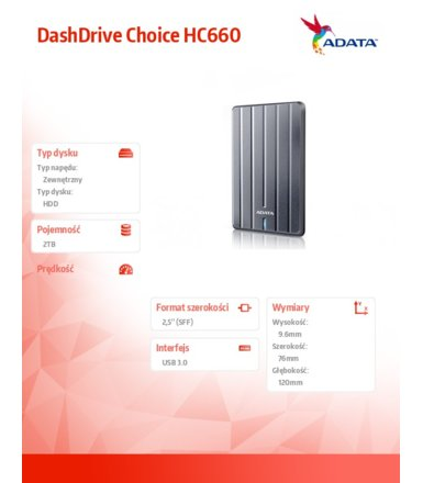 Adata DashDrive Choice HC660 2TB 2.5'' USB3.0 USlim