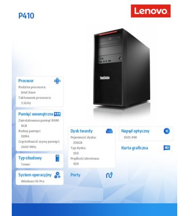 Lenovo ThinkStation P410 Tower Workstation 30B3001BPB W10Pro E5-1620v4/8GB/SSD 256GB/DVD/450W/3YRS OS