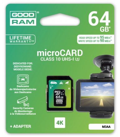 GOODRAM microSDHC 64GB MLC U3 UHS I + adapter 95/90 MB/s DEDICATED