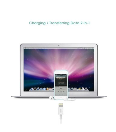 AUKEY CB-D20 White szybki kabel Quick Charge Lightning-USB | 1m | certyfikat MFi Apple