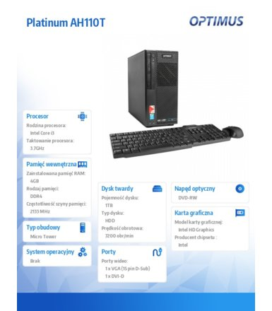 OPTIMUS Platinum AH110T i3-6100/4GB/1TB/DVD