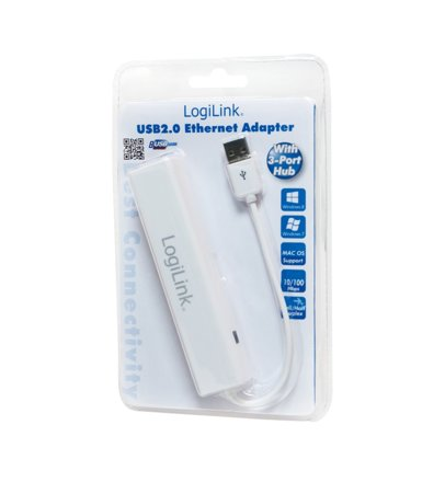 LogiLink Adapter Fast Ethernet do USB2.0 z hubem USB2.0