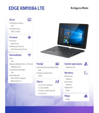 Kruger & Matz  TABLET 10.1 CALI 2W1 EDGE KM1084  LTE WINDOWS 10 HOME