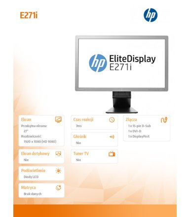 HP 27'' E271i IPS LED Backlit Monitor  D7Z72AA