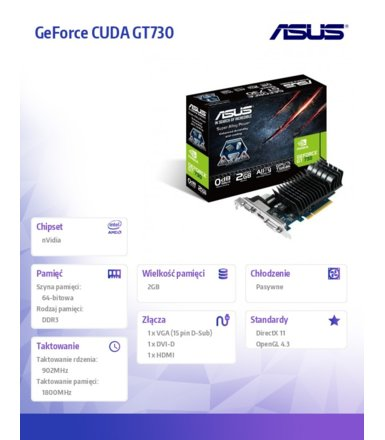 Asus GeForce GT 730 2GB DDR3 PCI-E 64BIT DVI/HDMI/DSub