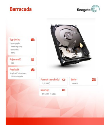 Seagate Barracuda ST1000DM003 1TB 3.5'' SATAIII 64MB 7200rpm