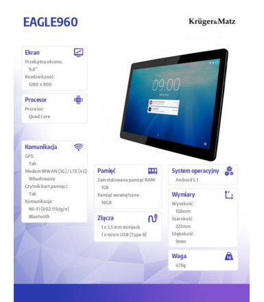 Kruger & Matz  TABLET 9,6 CALI EAGLE960 ANDROID5.1 IPS 1GB RAM