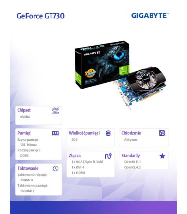 Gigabyte GeForce GT 730 2GB DDR3 128BIT/DVI/HDMI/DS BOX
