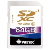 Pretec 64GB SDXC class 10 (33MB/s, 21MB/s) Secure Digital eXtended Capacity