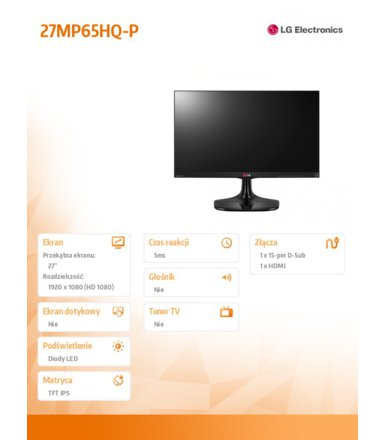 LG Electronics 27'' 27MP65HQ-P  LED IPS