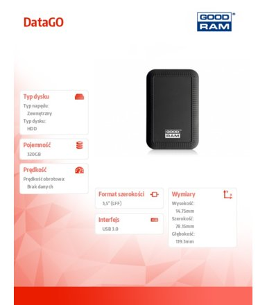 GOODRAM DataGO 320GB USB 3.0 BLACK