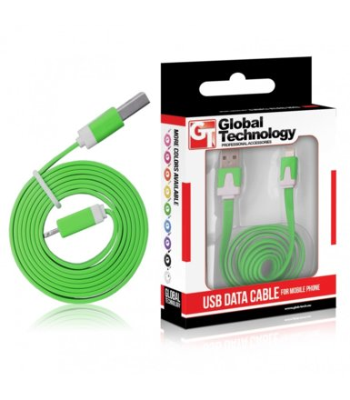 Global Technology KABEL USB IPHONE 5 8PIN iOS7+ PŁASKI ZIELONY