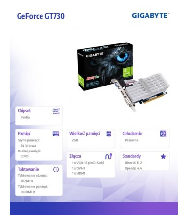 Gigabyte GeForce GT 730 2GB DDR3 PCI-E 64BIT DVI/HDMI/DSUB BOX