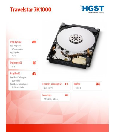 HGST Travelstar 1TB 2.5'' SATA3 32MB 7200rpm 9.5mm - RV