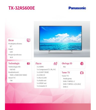Panasonic 32'' LED            TX-32AS600E