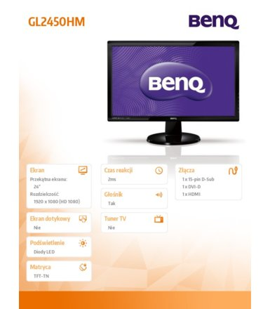 Benq 24''GL2450HE LED 2ms/12MLN:1/HDMI/CZARNY