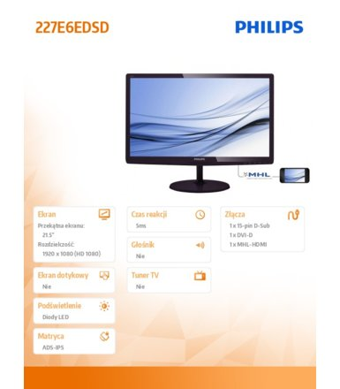 Philips 21.5'' 227E6EDSD IPS-ADS DVI HDMI MHL Soft Blue Czarny