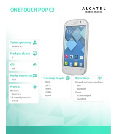 Alcatel  ONE TOUCH 4033X POP C3 White
