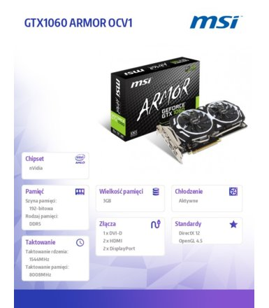 MSI GeForce CUDA GTX1060 ARMOR OCV1 3GB 192BIT DVI/HDMI/2DP