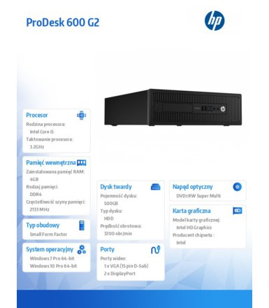 HP 600 G2PD SFF i5-6500 500/4GB/Win10    P1G57EA