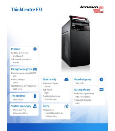 Lenovo ThinkCentre E73 Tower 10DR000TPB Win7Pro&Win8.1Pro i3-4150/4GB/500GB/Integrated/DVD/3 Yr OS