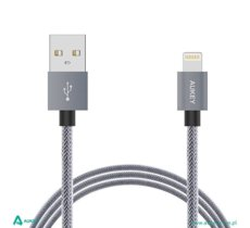 AUKEY CB-D24 Grey ultraszybki nylonowy kabel Quick Charge Lightning-USB | 1m | certyfikat MFi Apple