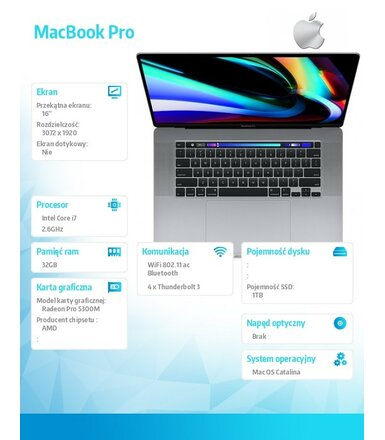 Apple MacBook Pro 16 Touch Bar: i7 2.6GHz/32GB/1TB/R5300M - Space Gray MVVJ2ZE/A/R1/D1
