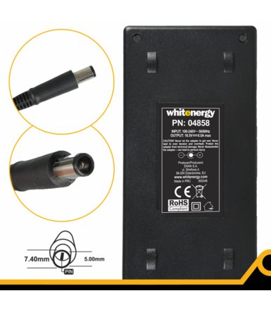 Whitenergy Zasilacz 18.5V | 6.5A 120W wtyk 7.4x5.0 + pin HP 04858