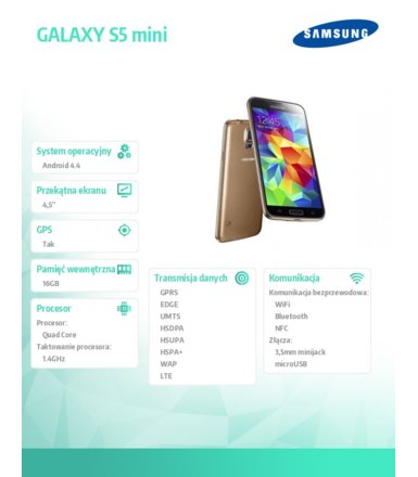 Samsung GALAXY S5 mini LTE G800F WHITE-GOLD