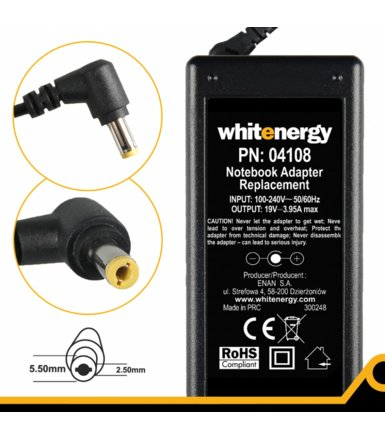 Whitenergy Zasilacz (04108) 19V | 3.95A 75W wtyk 5.5x2.5mm 04108