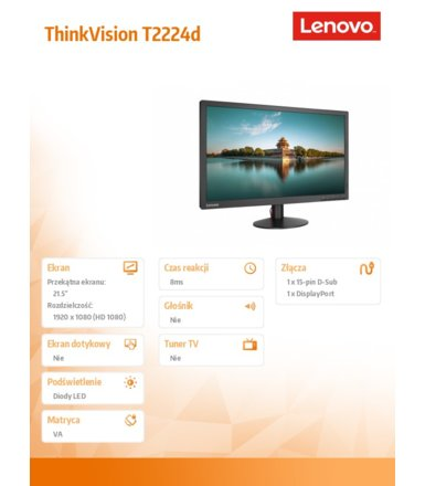 "Lenovo 21.5"" ThinkVision T2224d 60EBJAT1EU LED Backlit LCD Monitor"