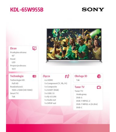 Sony 65'' LED TV             KDL-65W955B
