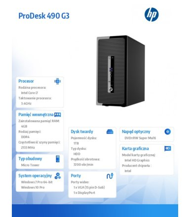 HP 490 G3 PD MT i7-6700 1TB/4GB/Win10 PC P5K16EA