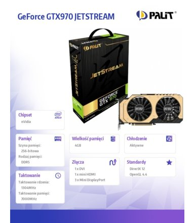 Palit GeForce CUDA GTX970 JETSTREAM 4GB DDR5 256BIT DVI/mHDMI/3mDP BOX
