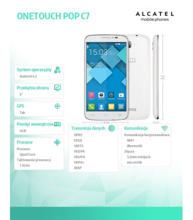 Alcatel  7041D Pop C7 White